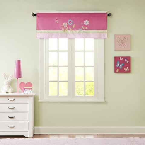 Mi Zone Kids Flower Power Pink Embroidered and Applique Valance with Plush Mink Textured/ Border Design/ Rod Pocket Finish