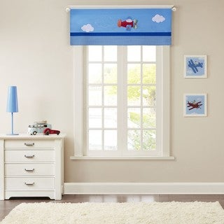 Mi Zone Kids Airplane Zone Blue Printed And Applique Valance with Rod Pocket Top Finish