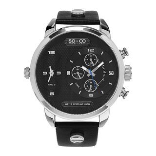SO&CO New York Men's SoHo Quartz Leather Strap Watch