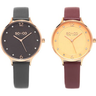 SO&CO New York Women's Casual Quartz Crystal Leather Strap Watch (Option: Red)