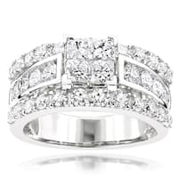 Luxurman 14k White Gold 3ct TDW Diamond Designer Engagement Ring