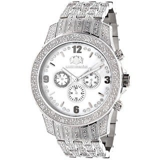 Luxurman Stainless Steel Men's Diamond 1 1/4ct TDW White Mother of Pearl Watch
