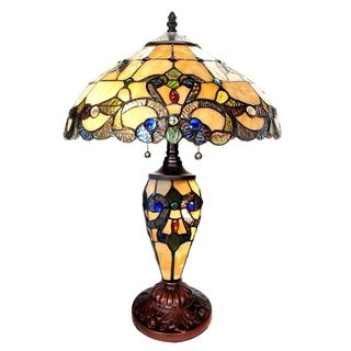 River of Goods 20-inch Tiffany Style Stained Glass Magna Carta Double Lit Table Lamp