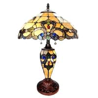 Gracewood Hollow Khelladi 20-inch Tiffany-Style Stained Glass Magna Carta Double-Lit Table Lamp