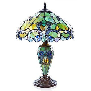 """Gracewood Hollow Khelladi 20""""H Stained Glass Multicolored Magna Carta Table Lamp"""