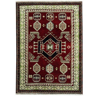 Herat Oriental Indo Hand-knotted Tribal Kazak Red/ Ivory Wool Rug (4'9 x 6'7)