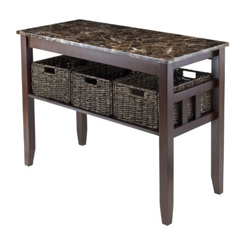 Zoey Console Table Faux Marble Top with 3 Baskets (Chocol...