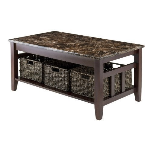 Unbranded Zoey Coffee Table Faux Marble Top (Chocolate), ...