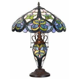 River of Goods 22-inch Tiffany Style Stained Glass Harlow of Hearts Double Lit Table Lamp