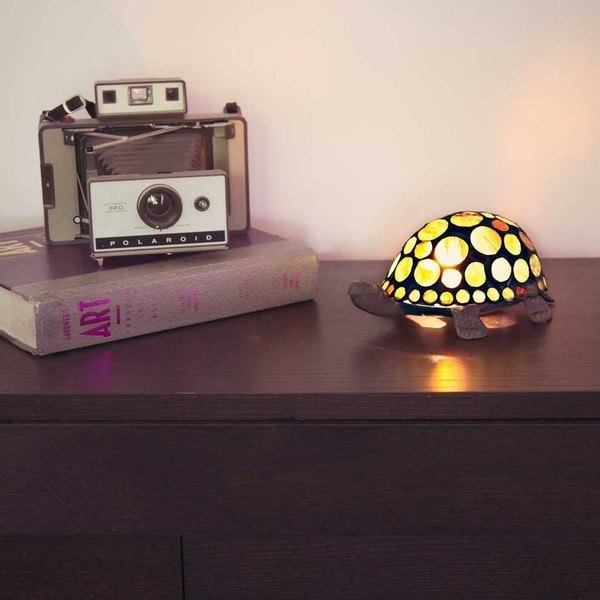 """3.5""""H Stained Glass Spotted Turtle Accent Lamp"""