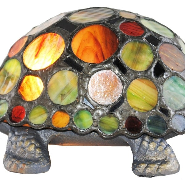 Figurine Lamps 3.5H Stained Glass Spotted Turtle Accent Lamp