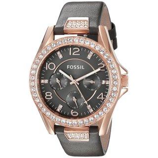 Fossil Women's ES3888 Riley Multi-Function Grey Dial Crystal Bezel Grey Leather Watch