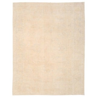Herat Oriental Afghan Hand-knotted Whitewashed Vegetable Dye Oushak Wool Rug (9' x 11'7)