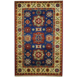 Herat Oriental Indo Hand-knotted Tribal Kazak Blue/ Ivory Wool Rug (3' x 5')