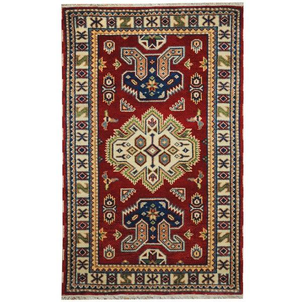 Herat Oriental Indo Hand-knotted Tribal Kazak Wool Rug (3' x 5') - 3' x 5'