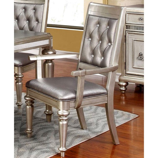 Shop Glamorous Design Metallic Platinum Dining Arm Chairs