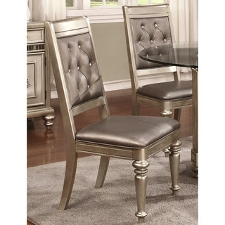 Glamorous Design Metallic Platinum Dining Chairs with Rhinestone Tufted Buttons (Set of 2)