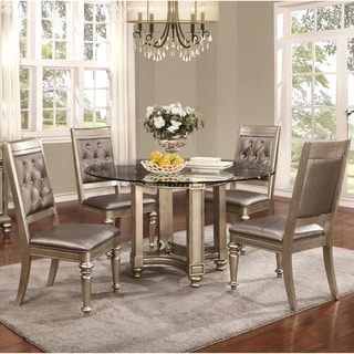 Glamorous Design Metallic Platinum Table Base with Rhinestone Tufted Chairs
