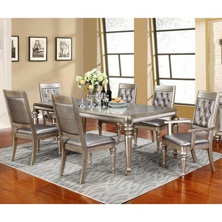 Glamorous Design Metallic Platinum Dining Set with Rhinestone Tufted Buttons