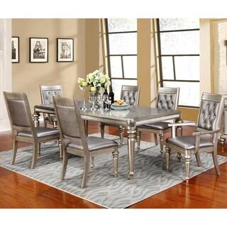 Beau Glamorous Design Metallic Platinum Dining Set With Rhinestone Tufted Buttons