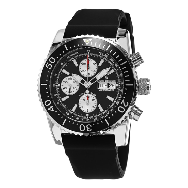 Revue Thommen Men's 'Air Speed' Black Dial Black Rubber Strap Chronograph Swiss Automatic
