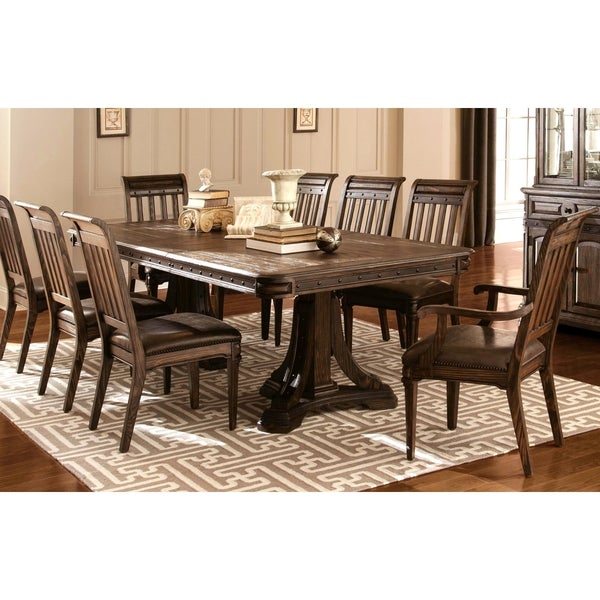 empress inspired grand rustic espresso dining set with metal