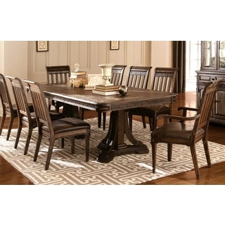 Empress Inspired Grand  Rustic Espresso Dining Set with Metal Accents