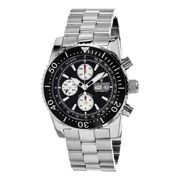 Revue Thommen Men's 'Air Speed' Black Dial Stainless Steel Chronograph Swiss Automatic Wa