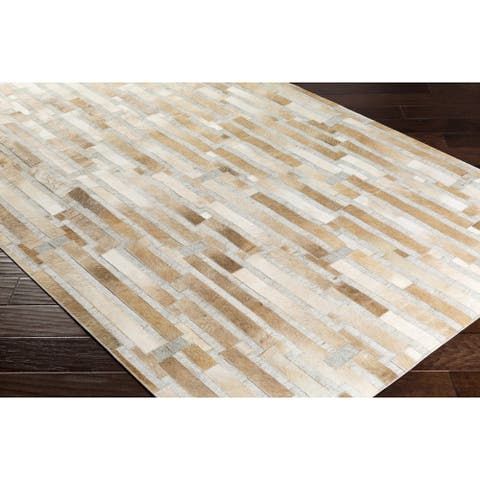 Hand-Crafted Euclid Viscose/Leather Area Rug