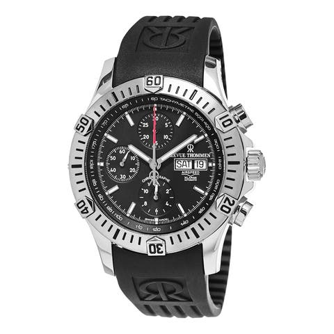 Revue Thommen Men's 16071.6839 'Air Speed' Black Dial Black Rubber Strap Chronograph Swiss Automatic