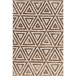 Palm Canyon Calico Hand-Crafted Viscose/Leather Area Rug - 8' x 10'