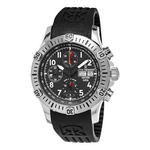 Revue Thommen Men's 16071.6834 'Air Speed' Black Dial Black Rubber Strap Chronograph Swiss Automatic