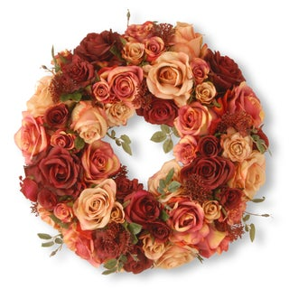 """15.5"""" Wreath with Mixed Roses & Skimmia"""