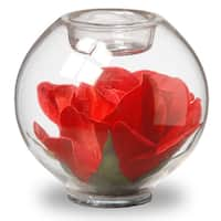 """4"""" Glass Candle Holder with Rose"""