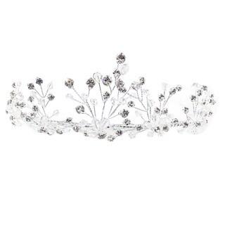 Kate Marie CWN-FT048M Rhinestone Silver Crown Tiara Headband