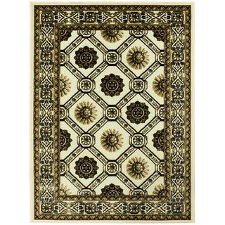 LYKE Home Exotic Chenille Champagne Border Area Rug (5 x 7)