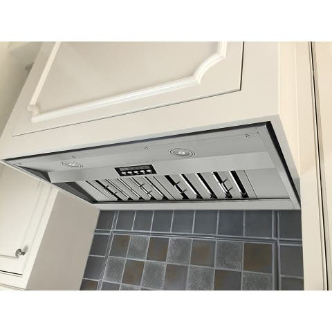 "KOBE IN2630SQB-650-5 Deluxe 30"" Built-In/ Insert Range Hood, 4-Speed, 700 CFM, LED Lights, Baffle Filters"