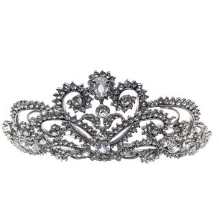 Kate Marie CWN-DH6133RH Rhinestone Silver Crown Tiara Headband