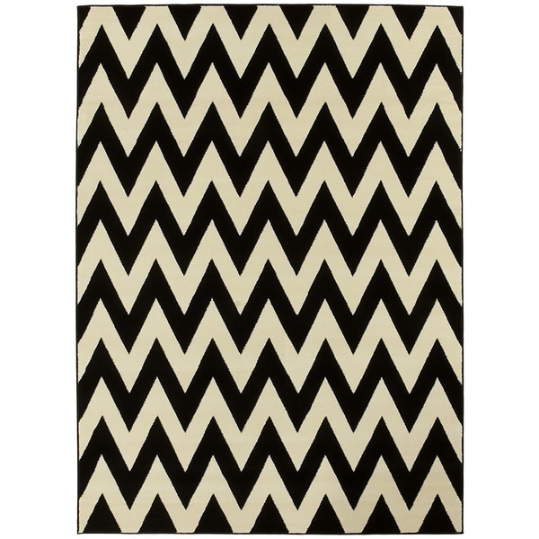 LYKE Home Hand-woven Black Chevron Area Rug - 8' x 11'