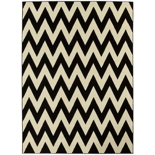 LYKE Home Hand-woven Black Chevron Area Rug (8 x 11)