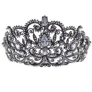 Kate Marie CWN-DH5913 Rhinestone Crown Tiara Headband (Option: Black)