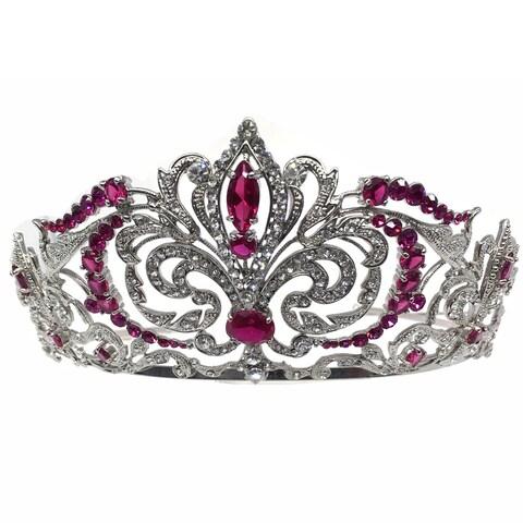 Kate Marie CWN-DH5912RH Rhinestone Crown Tiara Headband in Red
