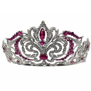 Kate Marie CWN-DH5912RH Rhinestone Crown Tiara Headband in Red