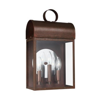 Sea Gull Conroe 3 Light Weathered Copper Outdoor Fixture