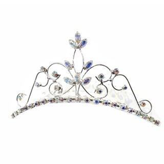 Kate Marie CWN-DH4245C Silver Rhinestone Crown Tiara Comb
