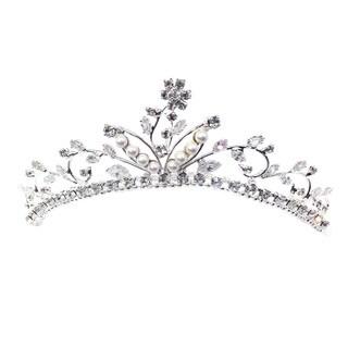 Kate Marie CWN-DH3280 Rhinestone Crown Tiara Comb in Silver