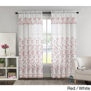VCNY Bailey Embroidered Curtain Panel with Attached Valance