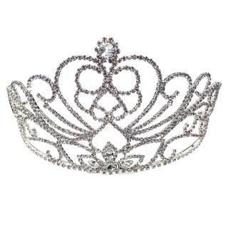 Kate Marie CWN-DH544 Rhinestone Silver Crown Tiara Headband