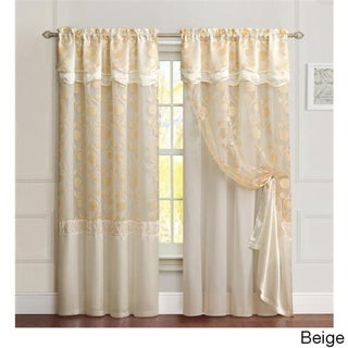 VCNY Agnes Curtain Panel with Attached Double Valance & Backing