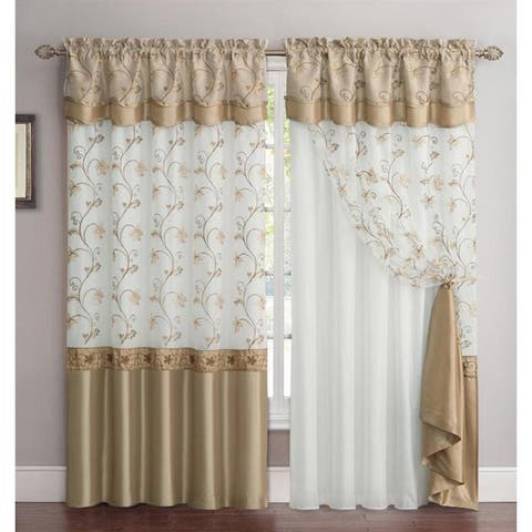 VCNY Audrey 2-Layer Curtain Panel with attached Backing & Valance